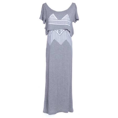 Womens Grey Boho Tribal Aztec Drape Top Dolman Sleeve Maxi Dress