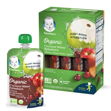 Gerber Organic Coconut Water Splashers Cherry Sweet Potato Apple, 3.5 oz Pouch (Pack of