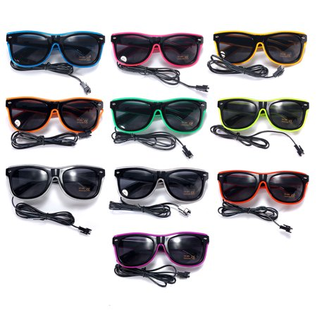 Light up LED Sun Glasses Wire Fashion Neon Luminous  Club Party led Frame Eyewear Sunglasses - Led Sunglasses Wholesale