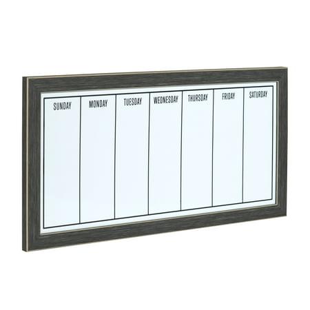 Uniek Black-framed Magnetic Weekly Calendar Dry Erase - Black Dry Erase Calendar
