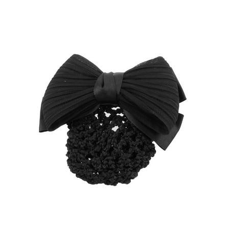 Black Ruched Bow Ribbon Snood Hair Net Bun Cover Hair Clip Ballet Style