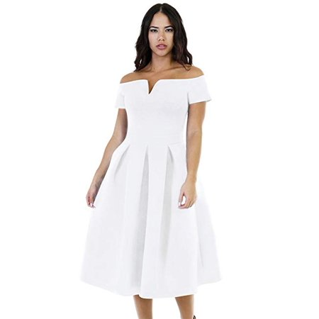 Women's Vintage 1950s Party Cocktail Wedding Swing Midi Dress (1950s Party)