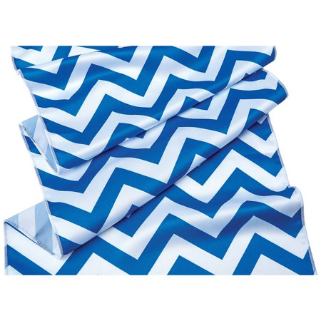 Cobalt Blue and White Chevron Striped Table Runner- (14 Inches x 9 Feet) - Blue And White Table Runner