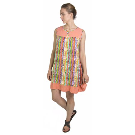 Sakkas Aidan Women Summer Short Shift Dress Colorful Loose Boho Casual Sleeveless - Salmon-Multi - One Size