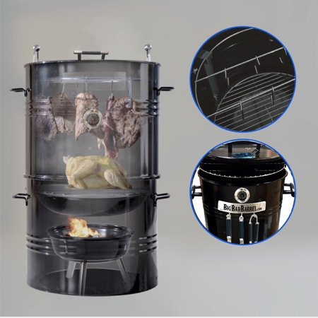Big Bad Barrel BBQ Smoker Grill 5 in 1 Barrel can be used as a Smoker, Grill, Pizza Oven, Table and Fire