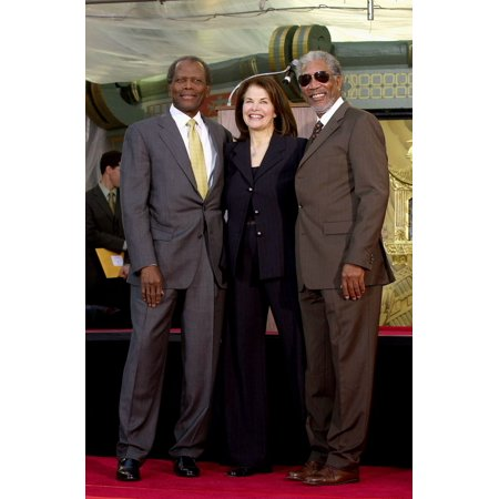 Sidney Poitier Sherry Lansing Morgan Freeman At The Induction Ceremony For Sherry Lansing Star On The Hollywood Walk Of Fame Hollywood Boulevard Los Angeles Ca February 15 2005 Photo By Michael