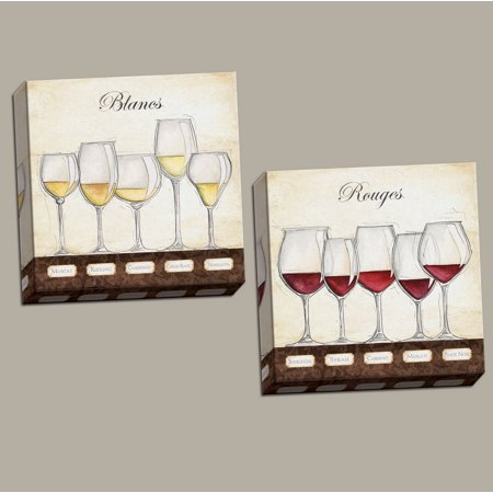 (Les Vins Rouges - Classic Red and White Wine Glass Decor; Two 12X12 paper print)