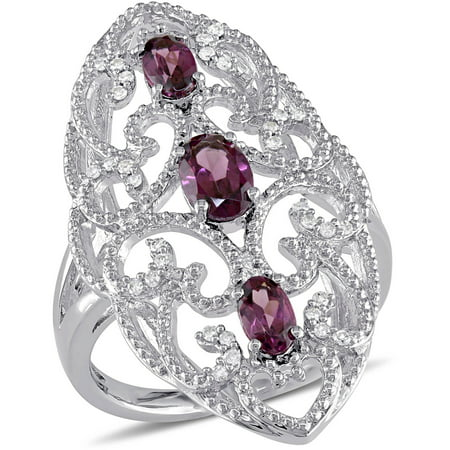 1-1/6 Carat T.G.W. Rhodolite and 1/8 Carat T.W. Diamond Sterling Silver Three-Stone Fashion Ring