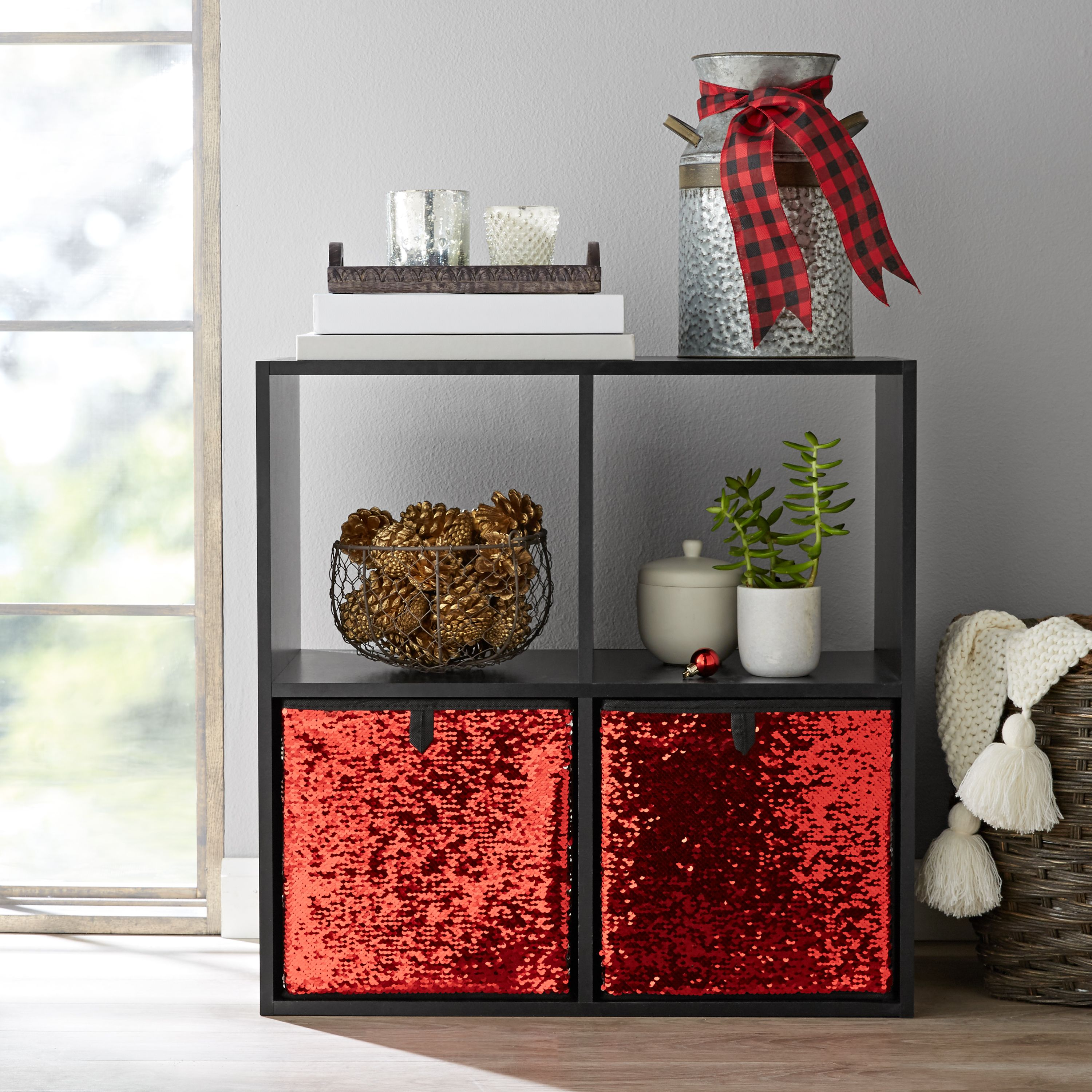 "Mainstays Reversible Sequin Collapsible Cube Storage Bins (10.5"" x 10.5""), Set of 2, Multiple Colors"