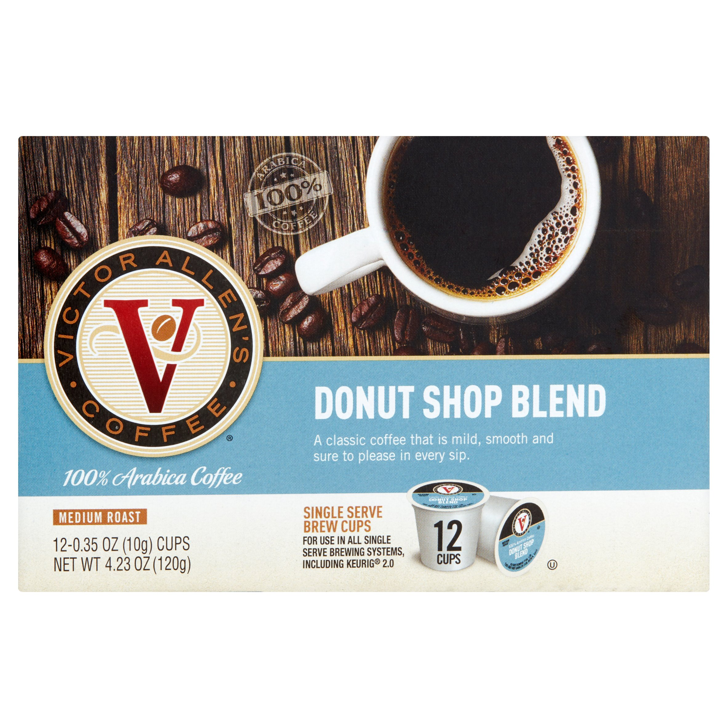 Victor Allen's Single-Serve Coffee Cups, Medium Roast Donut Shop Blend, 12 count