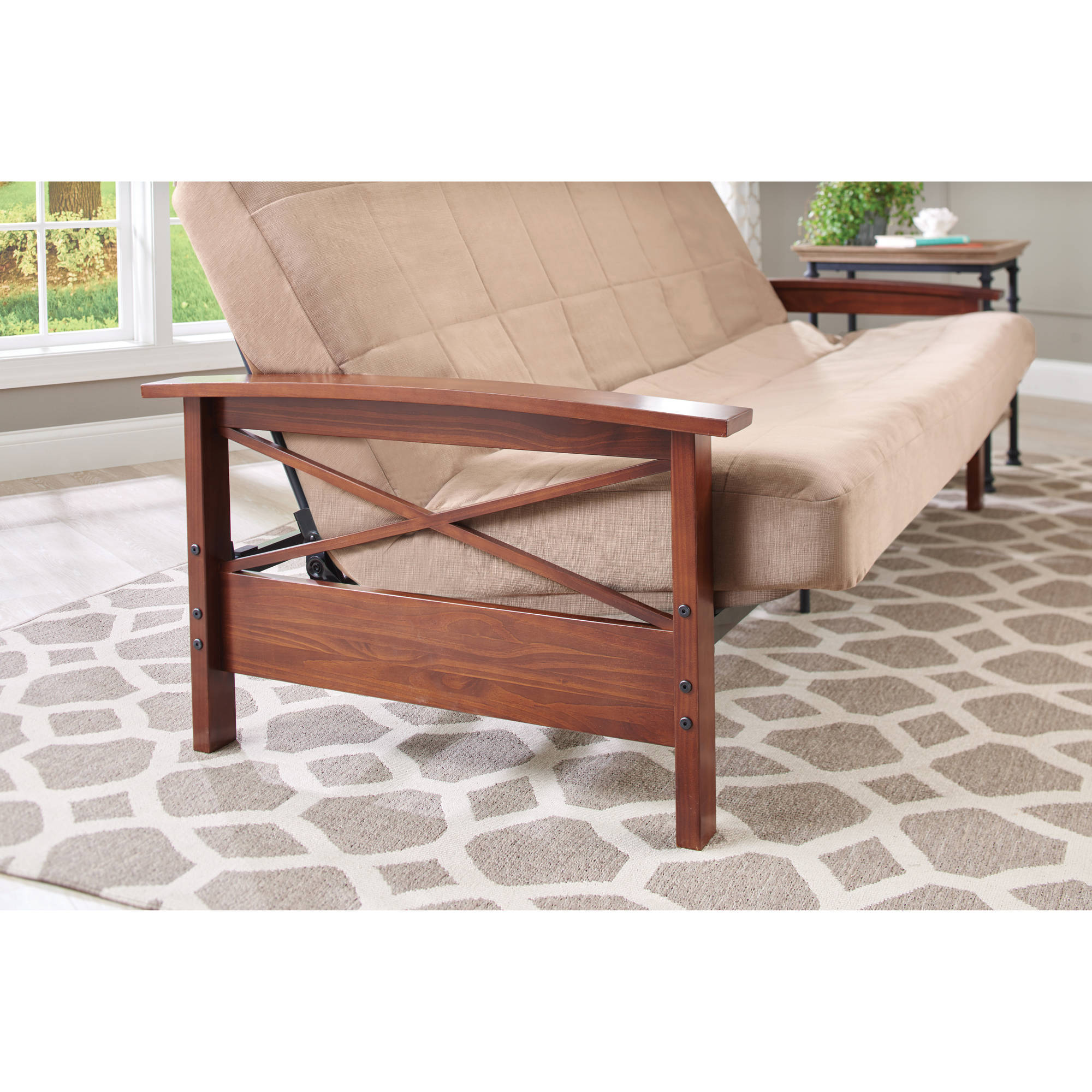 Mainstays Mission Wood Arm Futon Home Decor