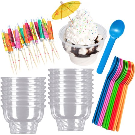 8 Ounce Clear Plastic Ice Cream Cups, Spoons,Umbrellas  16 - Ice Cream Party Ideas