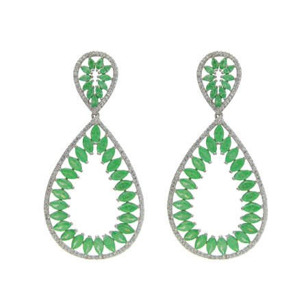 Fronay Co .925 Sterling Silver Marquis Green Glass and Cz Statement Earrings