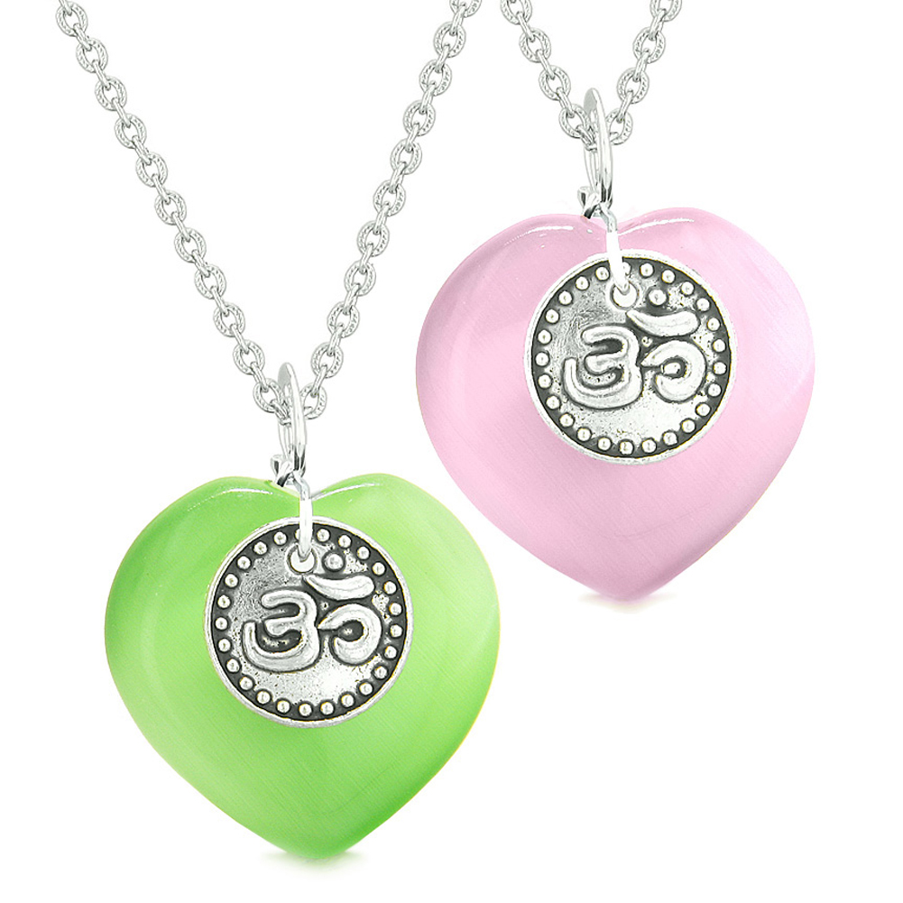 Spiritual OM Amulets Love Couples or Best Friends Hearts Neon Green Pink Simulated Cats Eye Necklaces