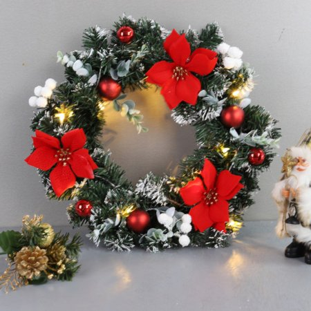 Christmas Wreath With Battery Powered LED Light String Front Door Hanging Garland Holiday Home Decorations ()