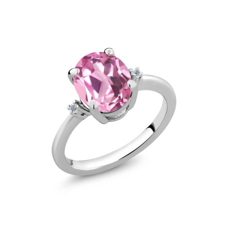 2.94 Ct Oval Light Pink Created Sapphire White Topaz 925 Sterling Silver