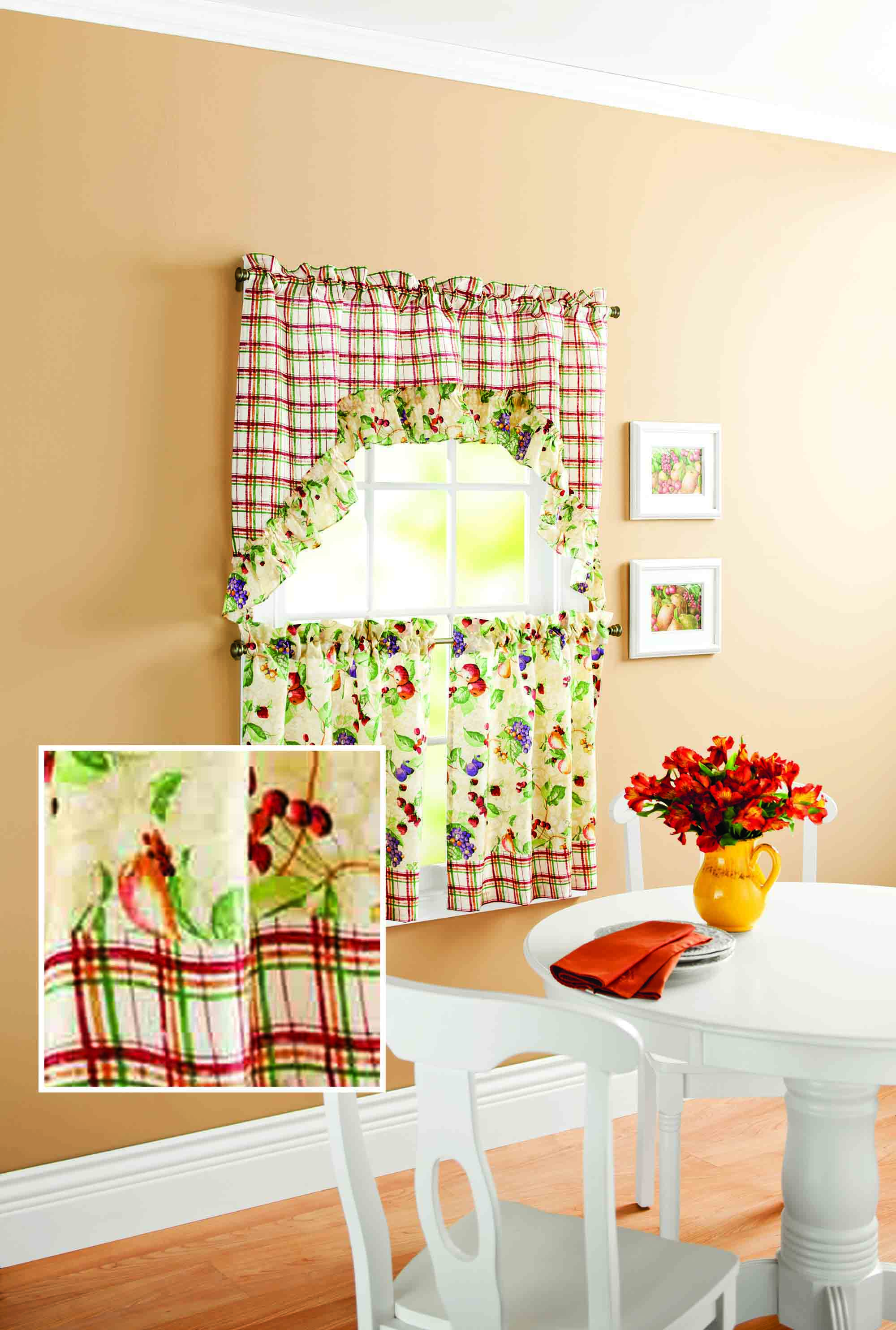 Mainstays Orchard Fruit Kitchen Curtain Set - Walmart.com