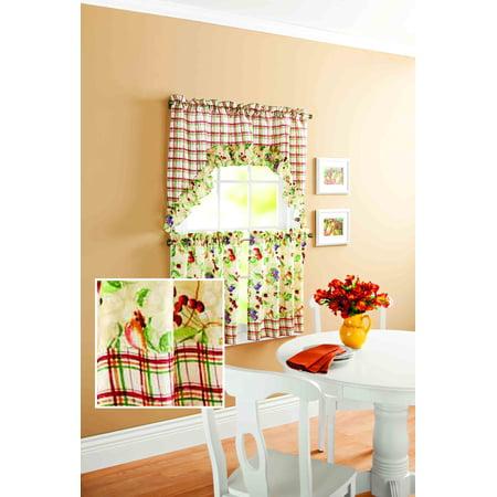 Mainstays Orchard Fruit Kitchen Curtain Set