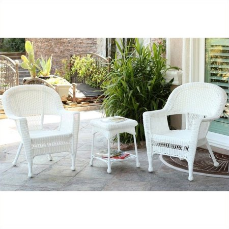 Jeco 3 Piece Wicker Conversation Set in White without Cushion ()