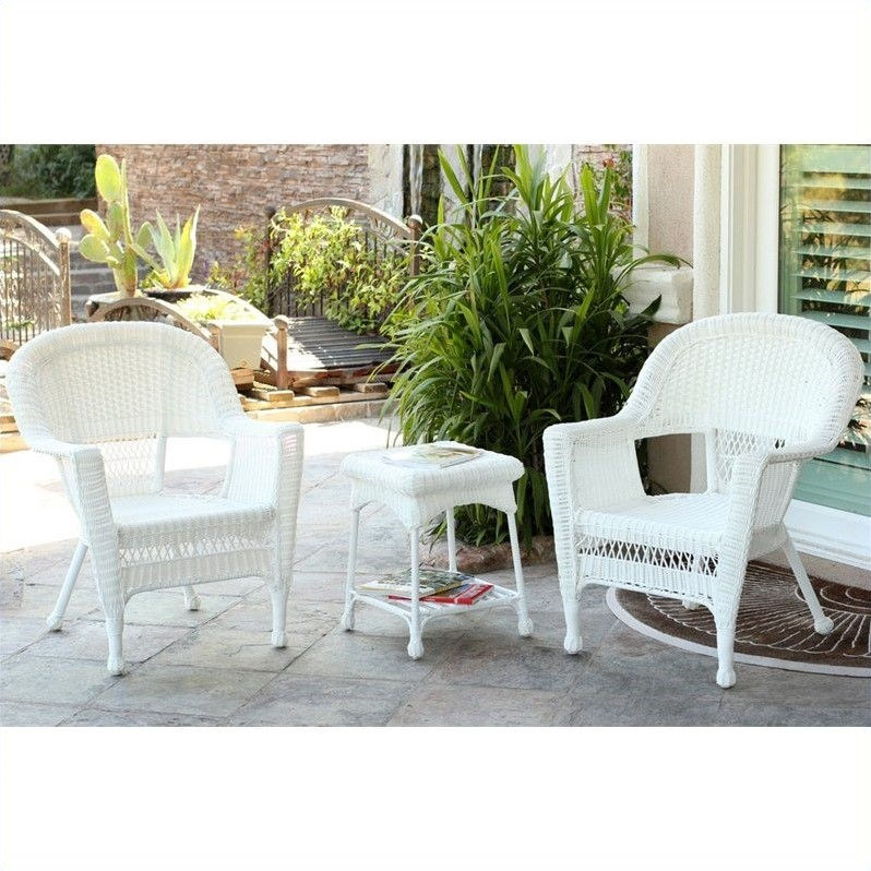 Jeco 3 Piece Wicker Conversation Set in White without Cushion