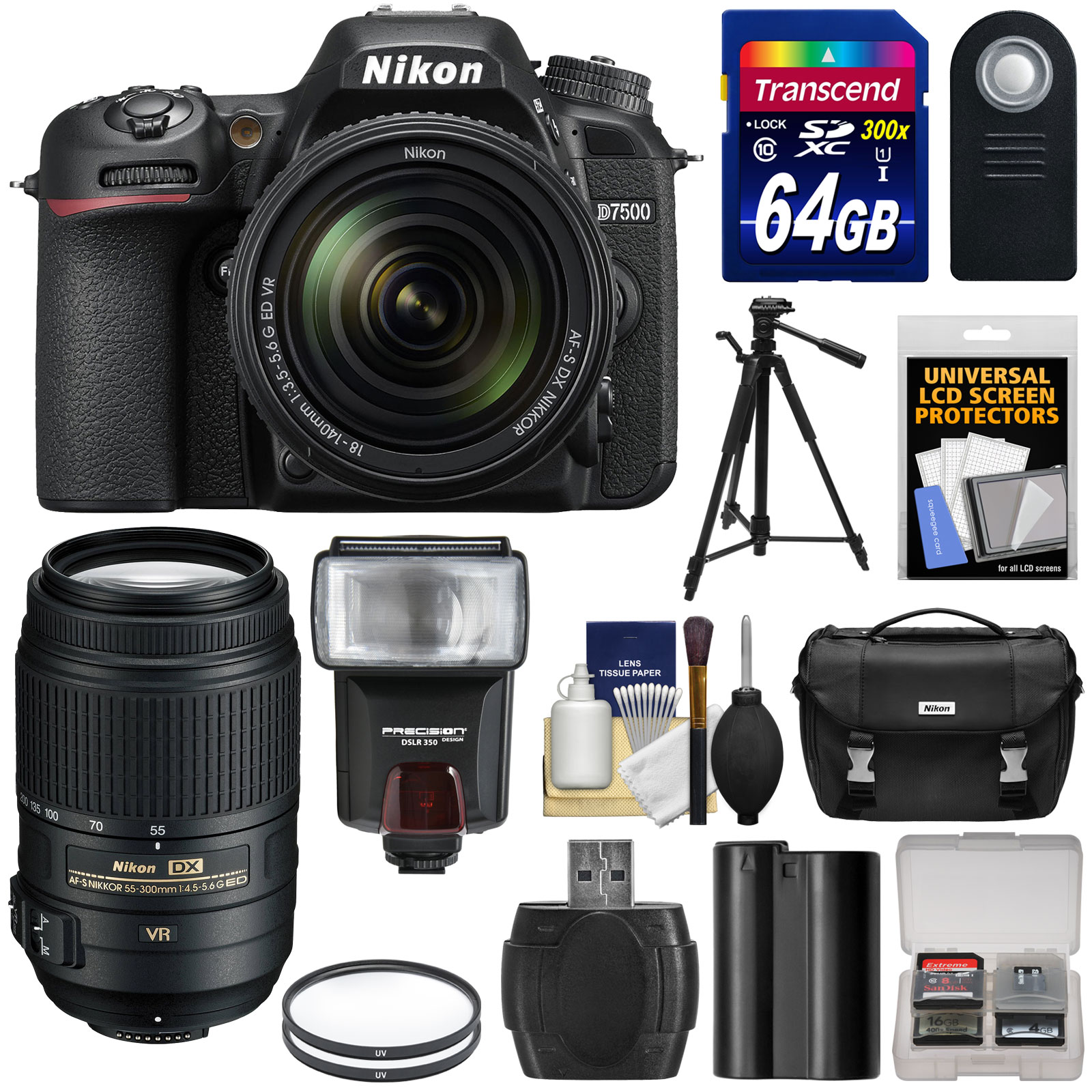 Nikon D7500 Wi-Fi 4K Digital SLR Camera with 18-140mm & 55-300mm VR DX Lens + 64GB Card + Battery + Case +... by Nikon