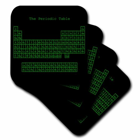 3dRose Neon Green on Black Periodic Table - Retro Computer Programmer style - Science Chemistry Physics - Soft Coasters, set of (Science Coasters)