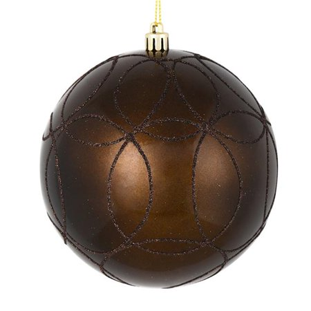 Vickerman N182475D 4 in. Chocolate Candy Ball Ornament with Circle Glitter Pattern  4 per Bag ()