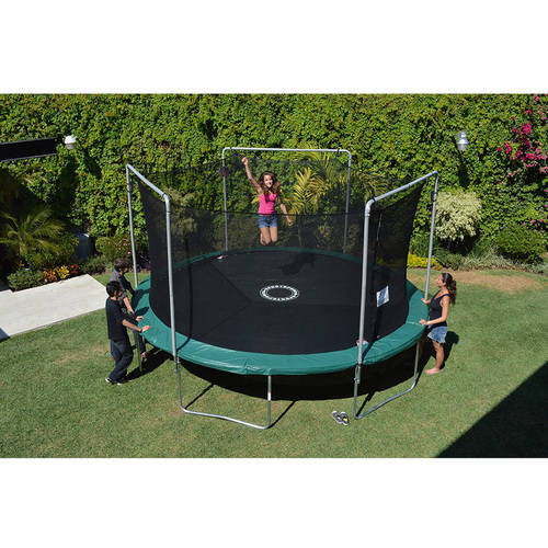 Bounce Pro 15-Foot Trampoline, with Safety Enclosure Combo and Electron Shooter Game, Green