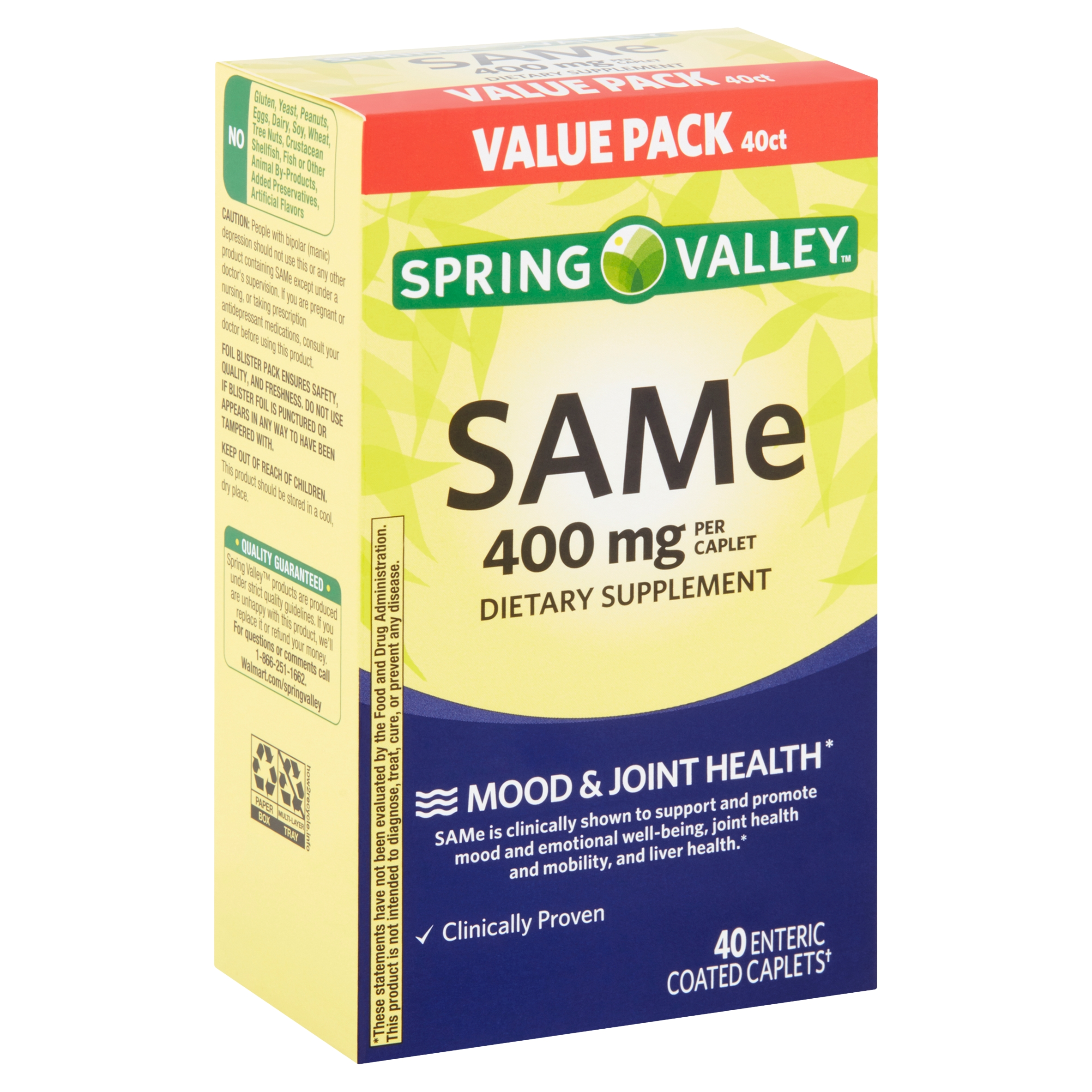 Spring Valley SAMe Enteric Coated Caplets Value Pack, 400 mg, 40 count