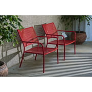 Alfresco Home Set of 2 Martini Low Profile Stacking Lounge Chairs in Cherry Pie Finish