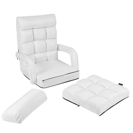 Costway Folding Lazy Sofa Lounger Bed Floor Chair Sofa w/ Armrests Pillow White - image 7 of 9