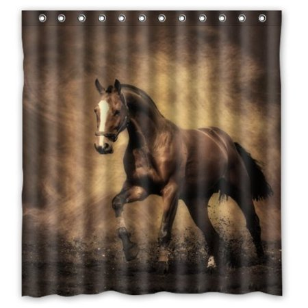 Greendecor River Horse Trend Waterproof Shower Curtain Set With Hooks Bathroom Accessories Size 66x72 Inches