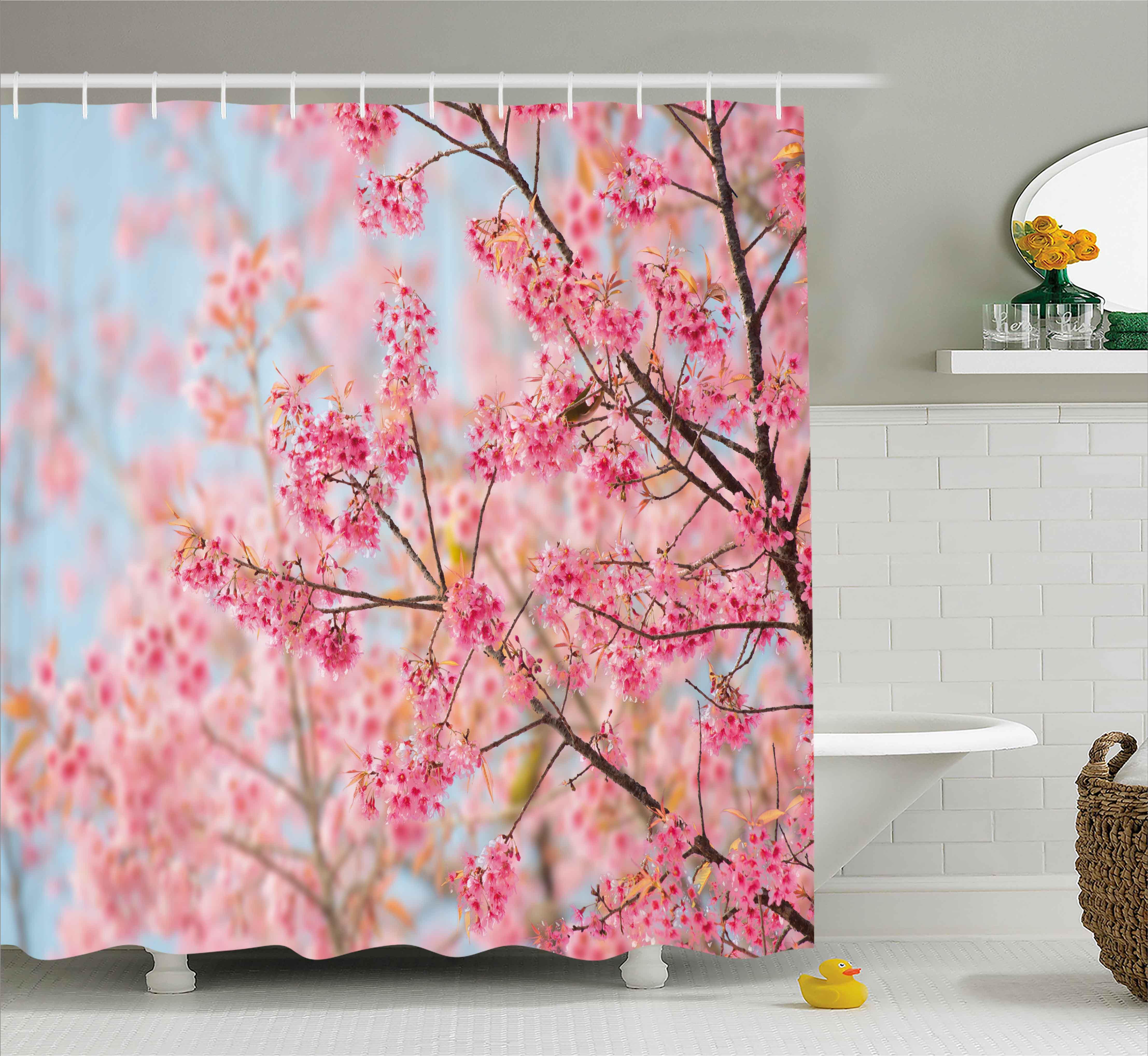 Floral Shower Curtain, Japanese Sakura Cherry Blossom Branches Full ...