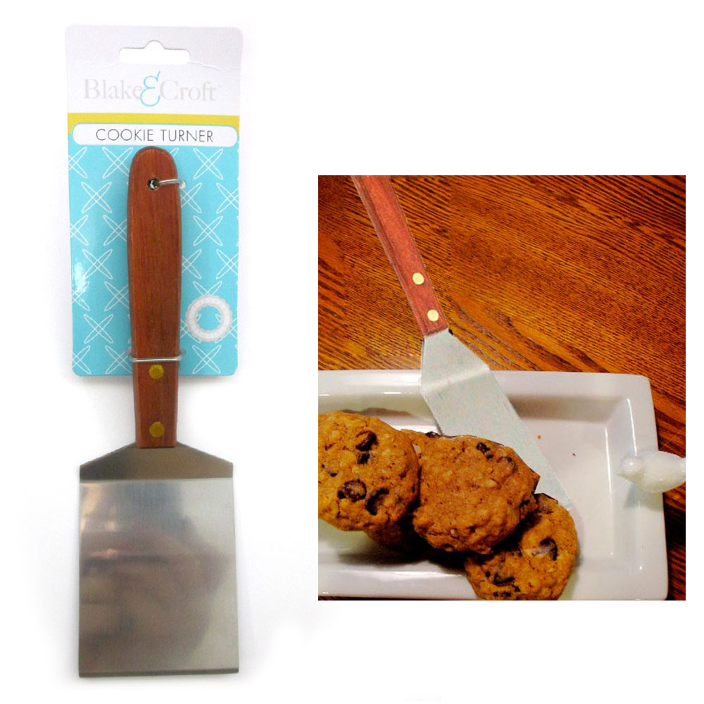 Stainless Steel Cookie Turner Spatula Cooking Kitchen Utensil Server Tool Wooden