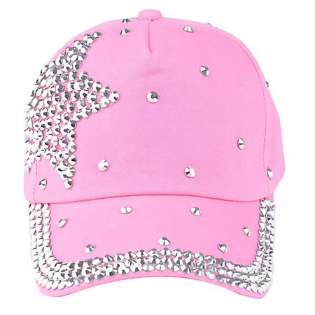 Sparkly Baseball Hats (Children Fashion Adjustable Star Rhinestones Studded Peaked Cap Glitter Sparkly Hat Cotton Baseball)