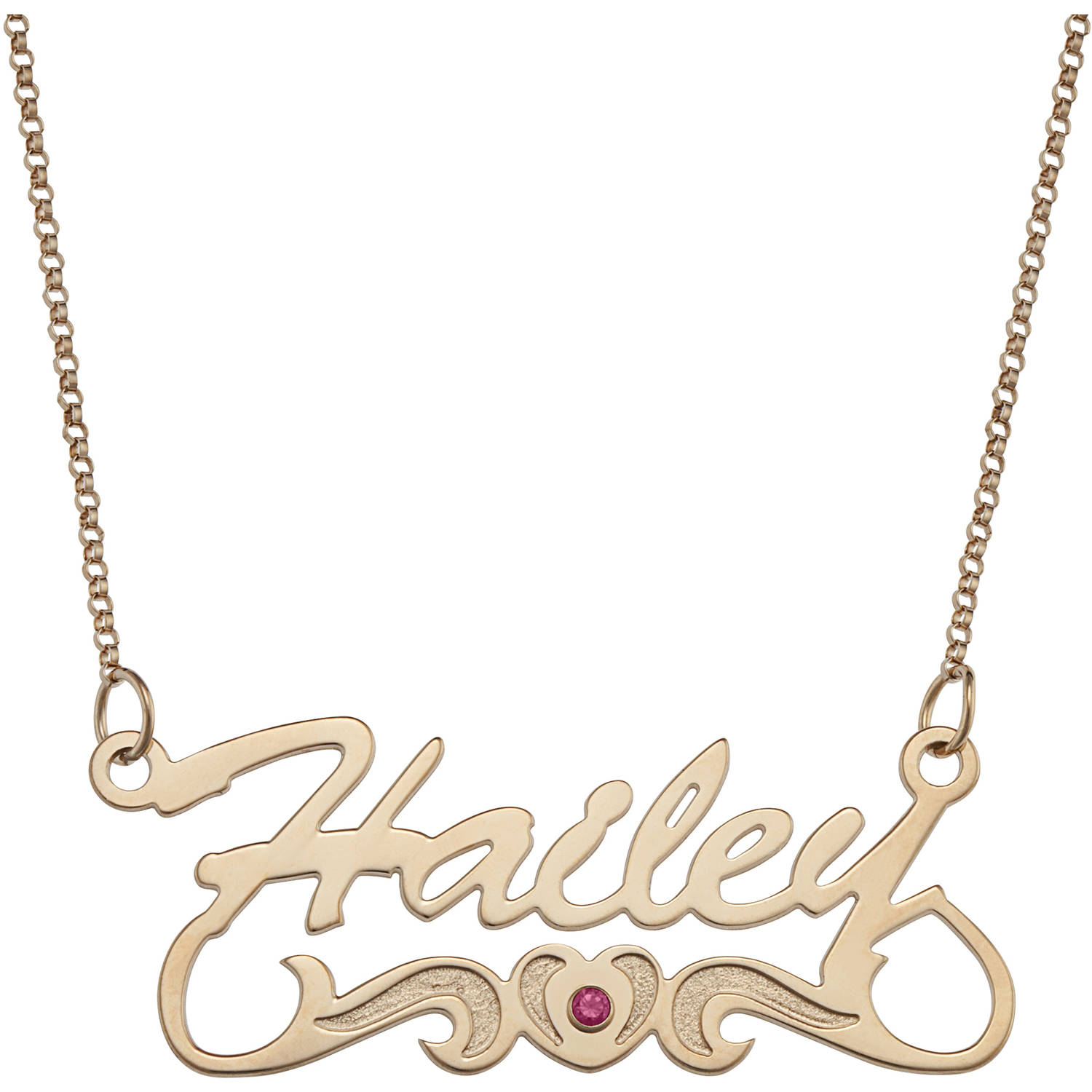 Personalized Script Name with Birthstone Heart Tail 14kt Gold-Plated Necklace, 18""