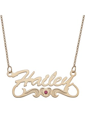Personalized necklaces walmart personalized script name with birthstone heart tail 14kt gold plated necklace 18 aloadofball Images