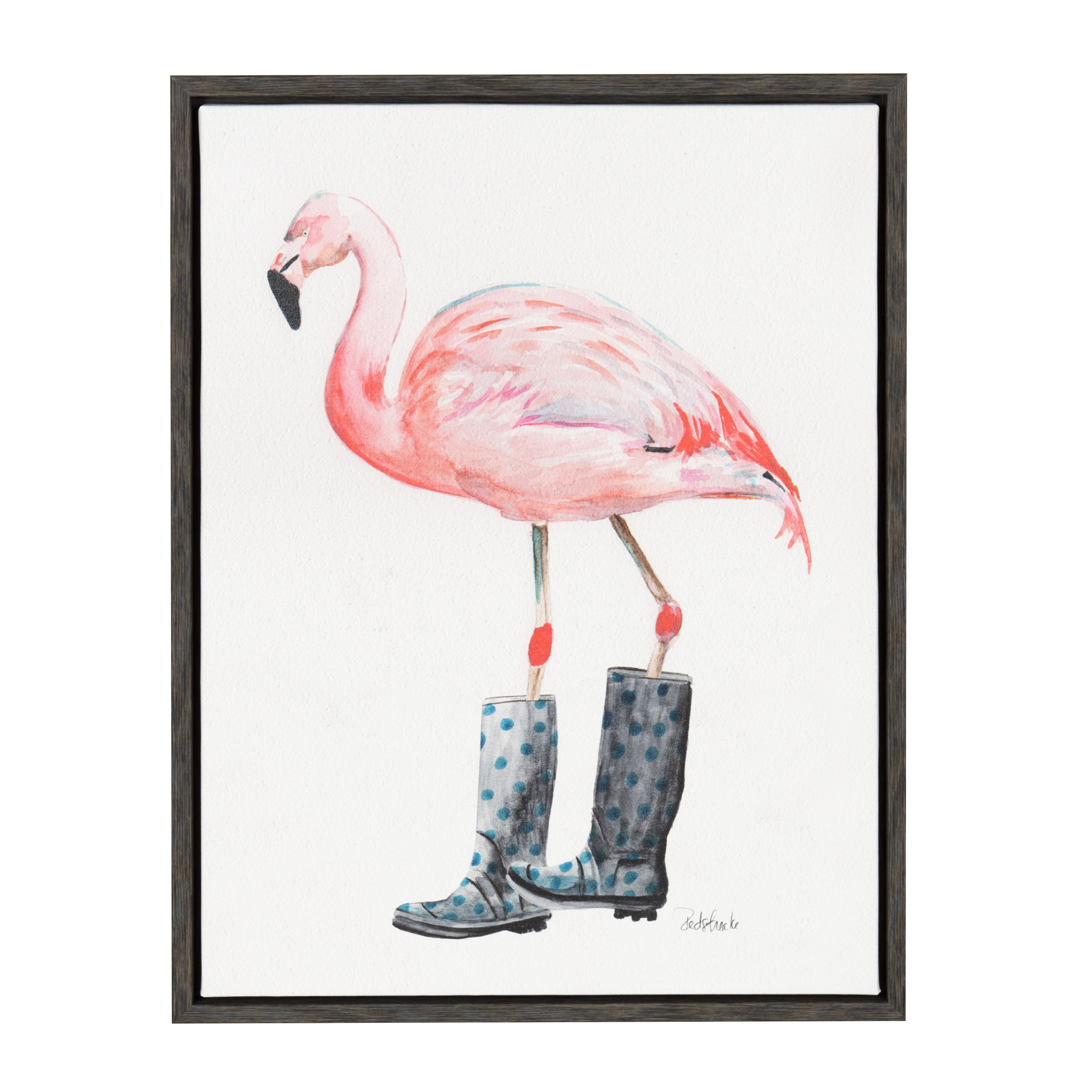 Kate and Laurel Sylvie Flamingo in Boots Gray 18x24 Framed Canvas Wall Art by Jennifer Redstreake Geary