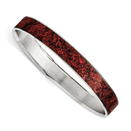 Enamel Wide Bangle (Stainless Steel Polished Red/Black Enameled Wide)