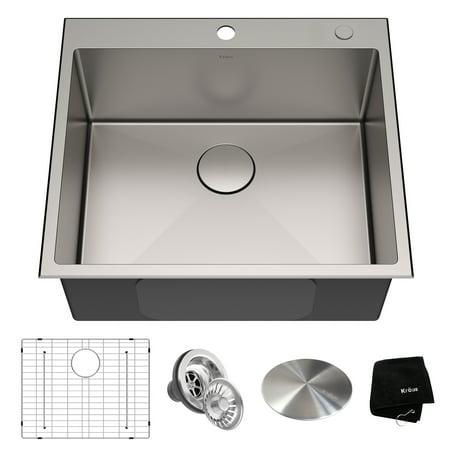 KRAUS 25 x 22 inch Standart PRO Drop-In Topmount 16 Gauge Single Bowl 2-Hole Stainless Steel Kitchen Sink