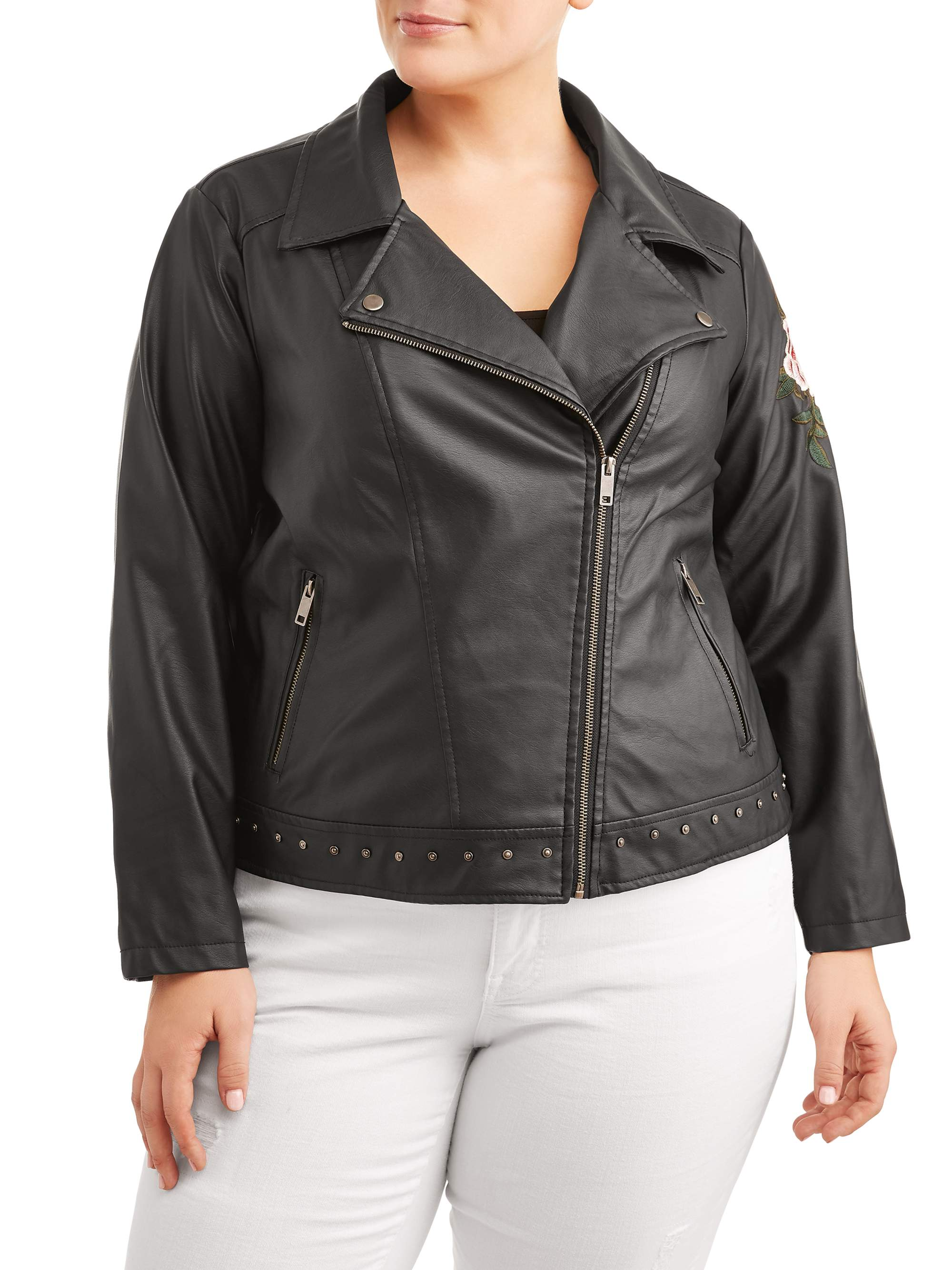 0a30ac54db New Look - Women's Plus Size Classic Leather Jacket with Rose Applique -  Walmart.com