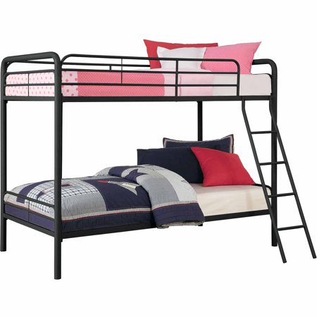 Twin Over Twin Metal Bunk Bed With Mattresses Walmart Com