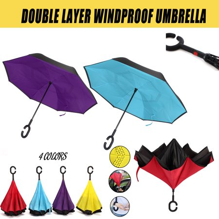 Folding C Handle Windproof Double Layer Umbrella Upside Down Inverted Reverse