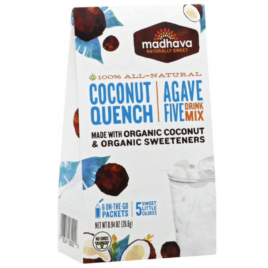 Madhava AgaveFIVE Coconut Quench Drink Mix, 6 count, .94 oz (Pack of 6)