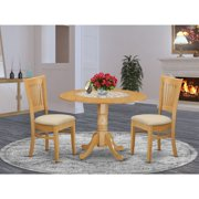 East West Furniture Kitchen Nook Dining Table Set -Finish: Oak, Number of Items:3,Shape: Round, Style: Microfiber Seat