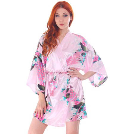 0ef38eb92e Simplicity - Women s Peacock   Blossoms Printed Satin Lounge Bridesmaids Kimono  Robe