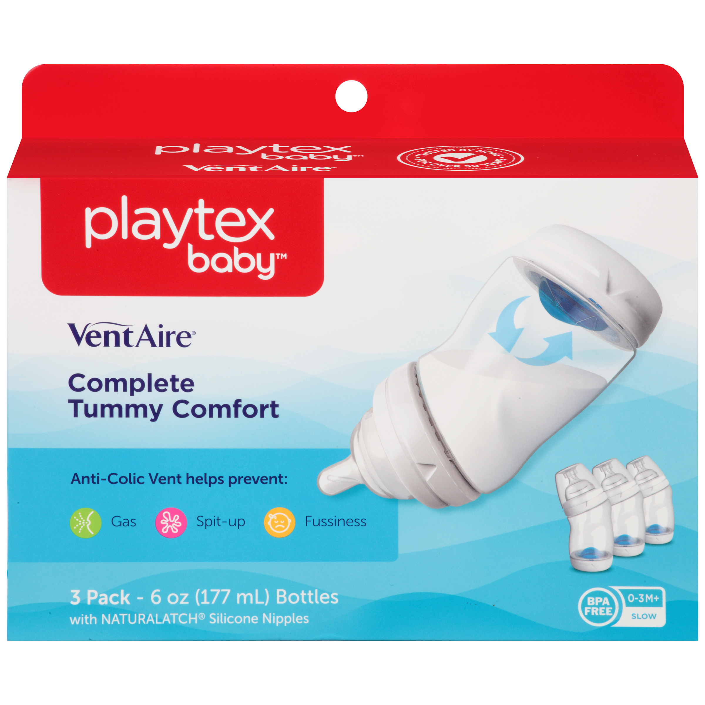 Playtex Baby VentAire Advanced Wide Baby Bottles - 6oz, 3pack