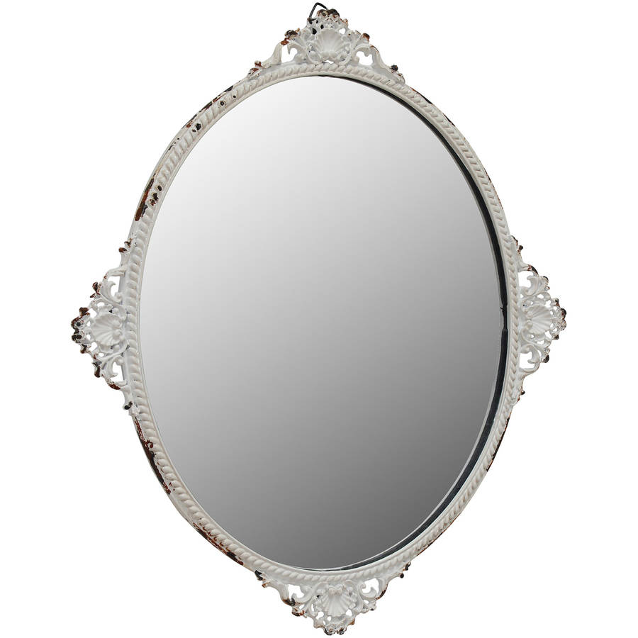 Oval Mirror with Worn White Metal Decorative Details by CKK HOME DECOR