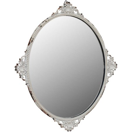 Oval Mirror with Worn White Metal Decorative Details - Maple Oval Mirror