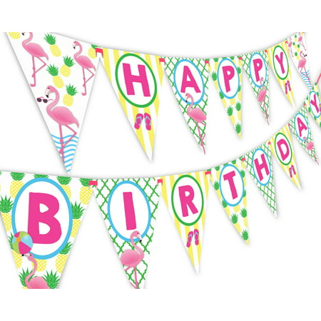 Flamingo Pineapple Happy Birthday Banner Pennant - Flamingle Party Banner